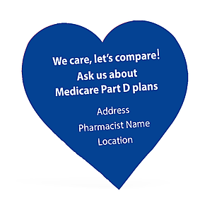 Heart Shaped Sticker with Pharmacy Personalization - Red